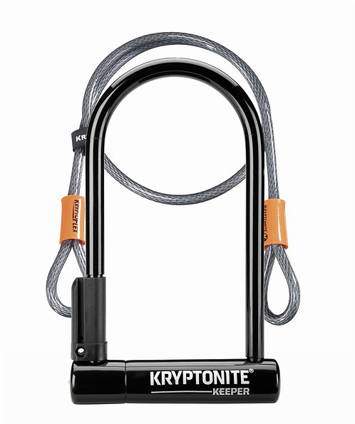 Kryptonite Keeper 12 Standard U-Lock with 4 foot cable Sold Secure Silver