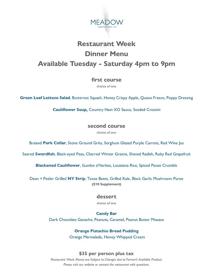 Restaurant Week Dinner January 2021 1.22