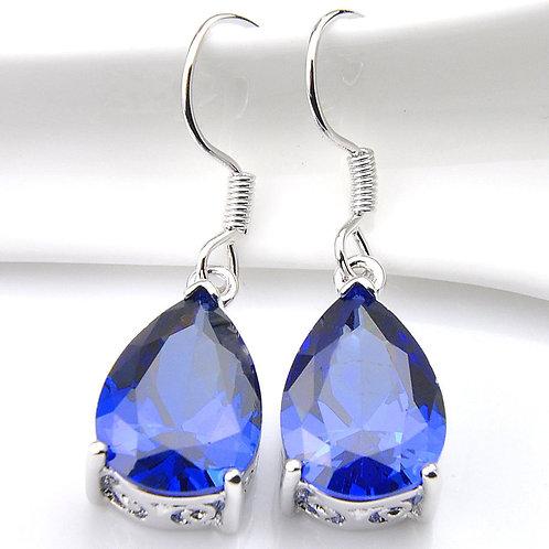 Elegant Jewelry Drop Swiss Blue Fire Topaz Gemstone Silver Dangle Hook Earrings
