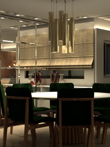 A arquiteta  Amanda Coan Hahnl     elaborou essa estante com um design industrial, utilizando com muita propriedade iluminação cênica e leve, a madeira dando destaque com sua rusticidade e beleza com acabamento de alta qualidade.
