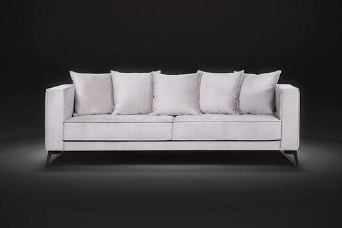 Sofá assento fixo Classic com percintas elásticas 2,40m tecido veludo