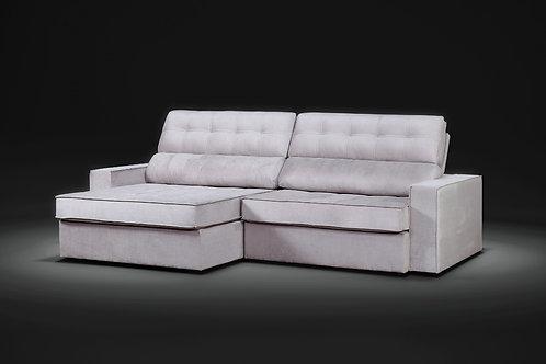 Sofá retrátil reclinável Bello com molas ensacadas 2,80m tecido veludo