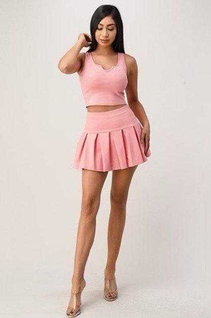 Tennis Pleeted Skirt Set (Pink)