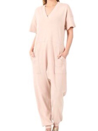 "Just ""Too Comfortable"" Jumpsuit (Light Pink)"