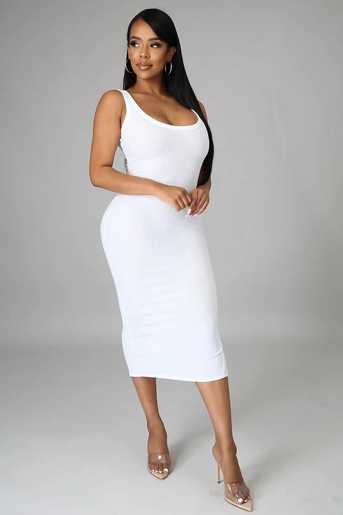 Essential Ribbed Midi Dress (White)