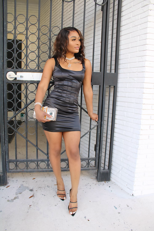 Black Satin Mini Dress