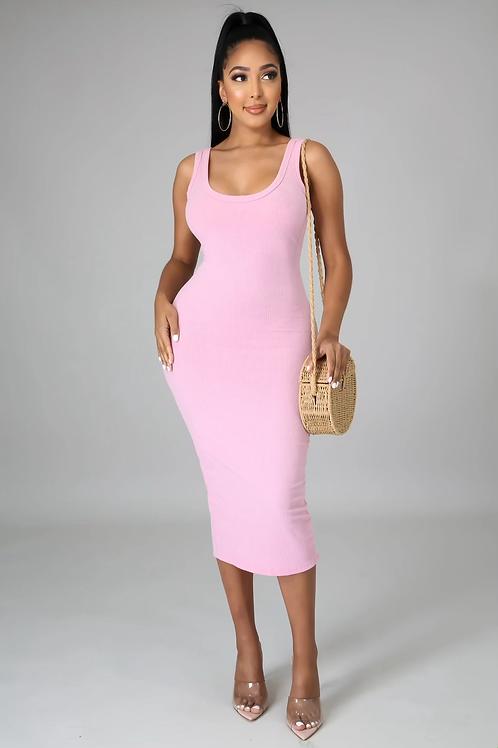 Essential Ribbed Midi Dress (Pink)