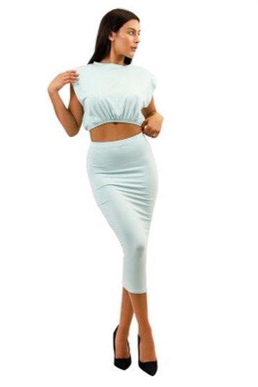 """Boss Chic"" Skirt Set (Grey)"