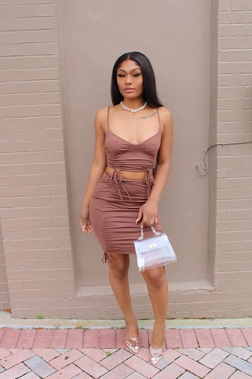 Brown Srunch Skirt Set