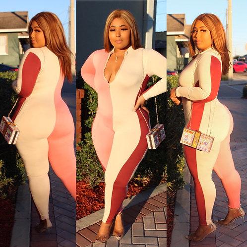 Pink Colorblock Jumpsuit