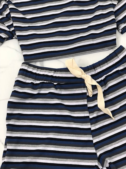 Off Day Striped Short Set (Blue)