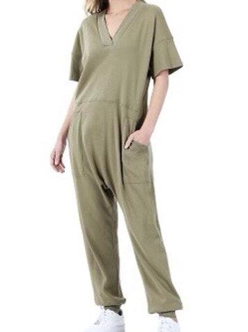 """Just """"Too Comfortable"""" Jumpsuit (Khaki)"""
