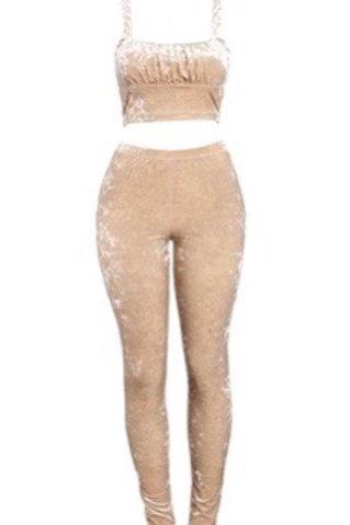 Crushed Velvet Pant Set
