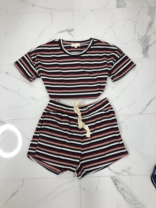 Off Day Striped Short Set (Red)