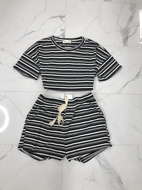 Off Day Striped Short Set (Black)