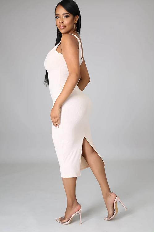 Essential Ribbed Midi Dress (Off-White)