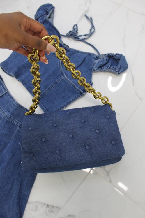 Denim Tuffed Shoulder Bag