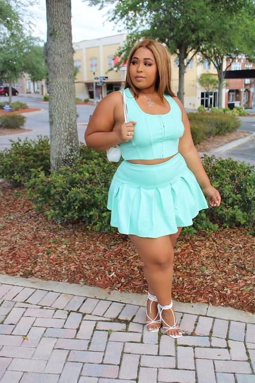 Playfair Pleeted Skirt Set (Teal)