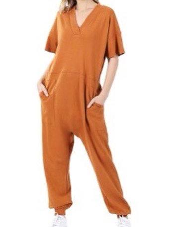"Just ""Too Comfortable"" Jumpsuit (Almond)"