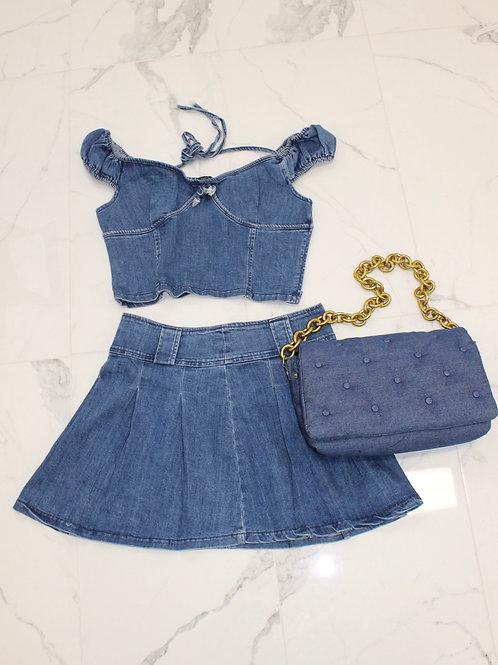 Denim Pleated Skirt Set