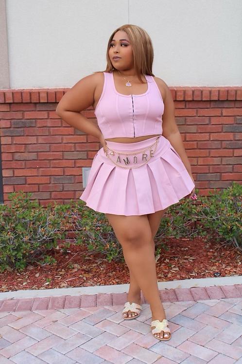 Playfair Pleeted Skirt Set (Pink)