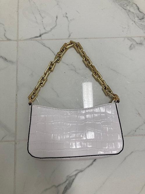 Croc Print Shoulder Bag