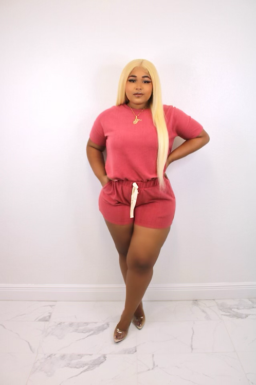 Everyday Casual Short Set (Pink)