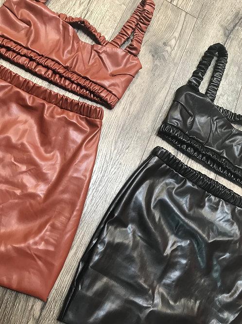 Patent Skirt Set