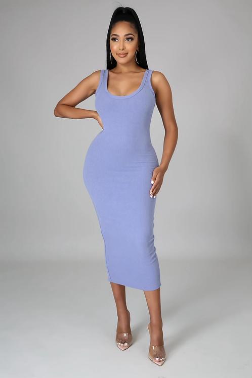 Essential Ribbed Midi Dress (Blue)