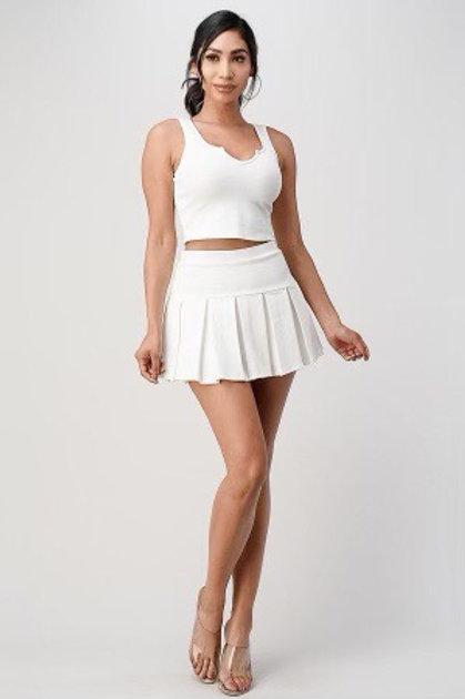Tennis Pleeted Skirt Set (White)