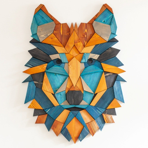 """""""Wolf #2 - blue and wood"""""""