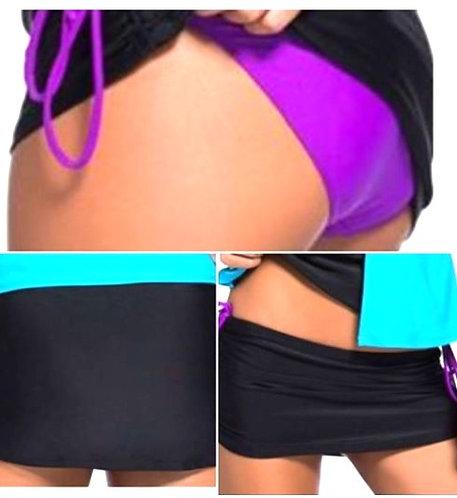 Black Ruched Skirt Purple Brief Swim Bottom