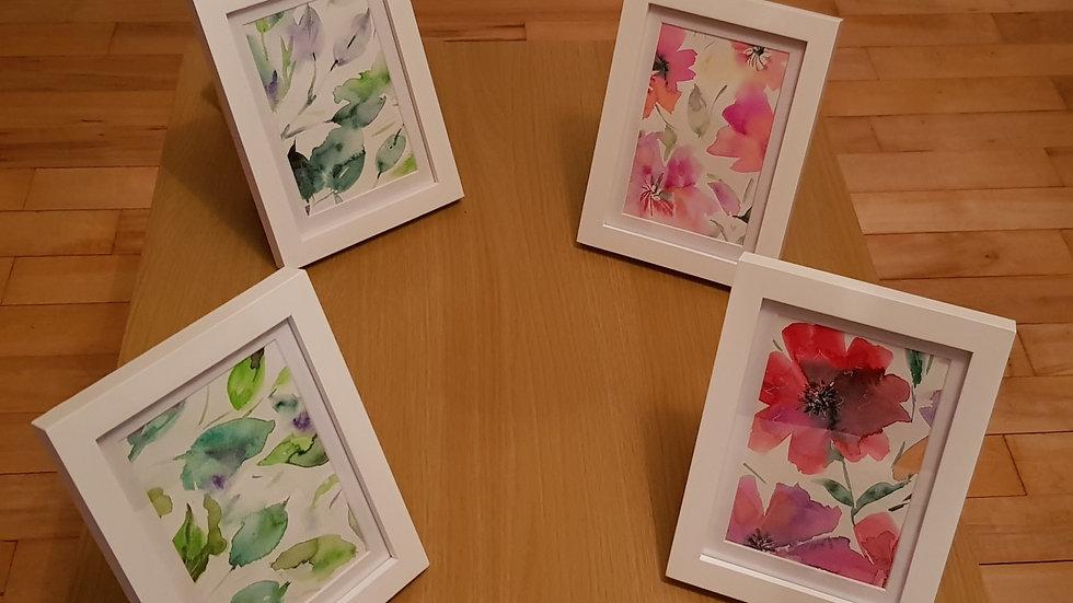 "7x5"" Framed Original Cropped Florals (x4)"