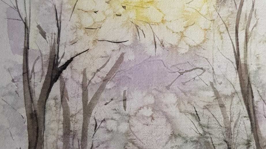 "7x5"" Framed Mini Watercolour Forest"
