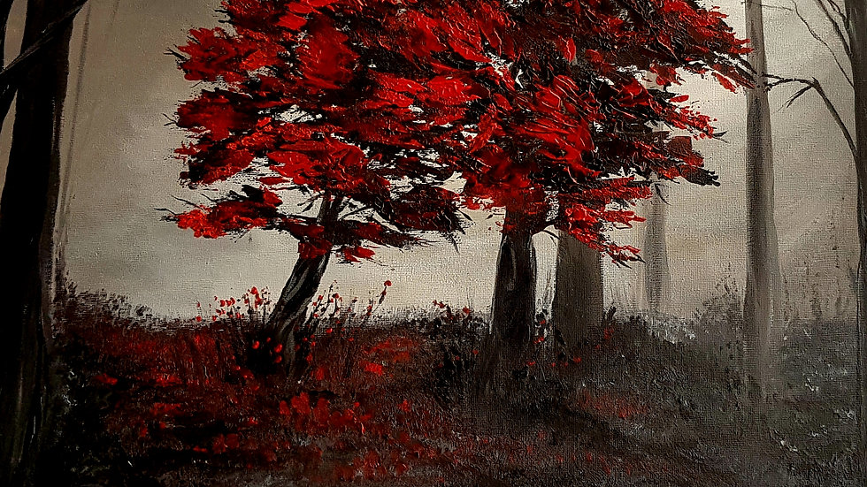 Red Trees Misty Forest