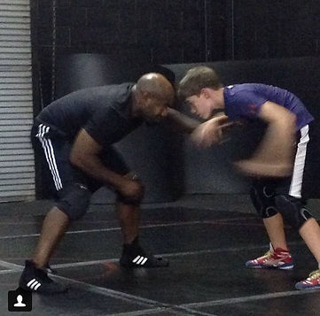 Corbin Allen working with Coach Huitt