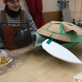 Prop Maker Naomi making Tammy the Turtle