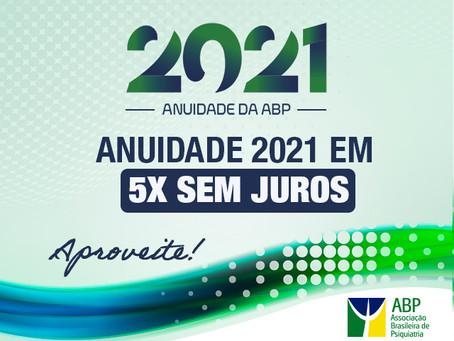 Anuidade 2021 em 5x, aproveite!