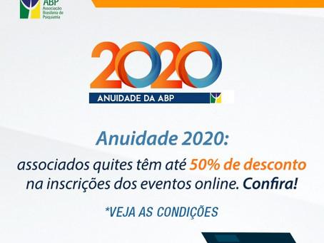 Anuidade 2020: associados quites têm até 50% de desconto nas inscrições dos eventos online. Confira!