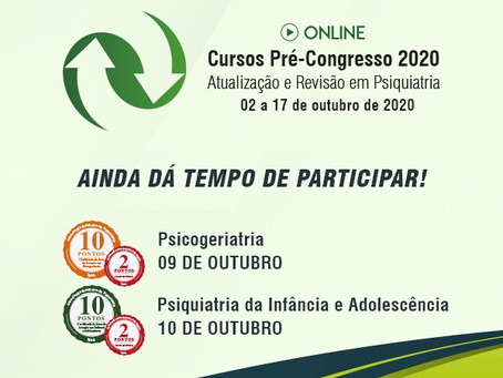 Psicogeriatria e infância e adolescência são os temas do Curso Pré-Congresso neste final de semana!
