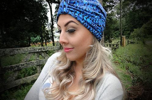 Turbante de Malha Estampada Azul