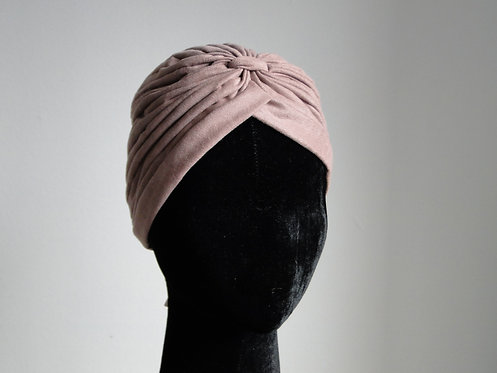 Turbante em Malha Camurçada Rosa Antigo
