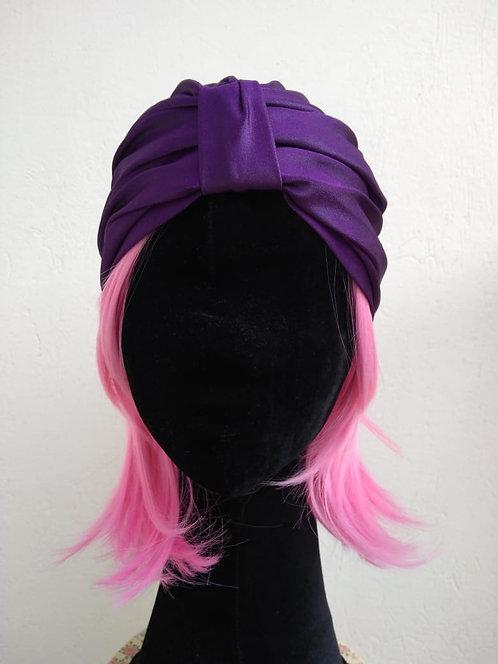 Turbante de cirrê roxo