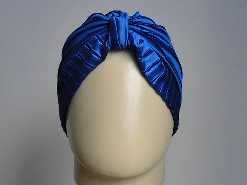 Turbante Plissado Azul Acetinado