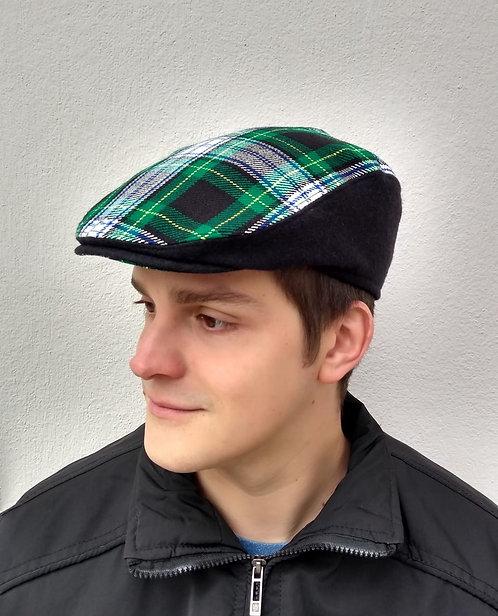 Boina inglesa de lã xadrez verde