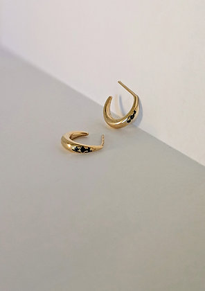 Crescent Hoops with Diamonds