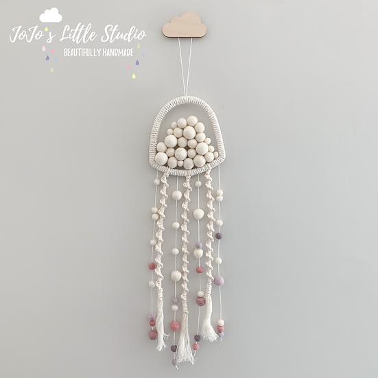 Jellyfish Wall Hanging - Ivory Dusky Pink Lilac