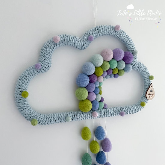 Super Speckled Rainbow Rain Cloud Wall Hanging - 30cm - Baby Blue Peacock