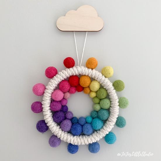 Rainbow Sun Wall Hanging - 14.5cm - Letterbox Gift