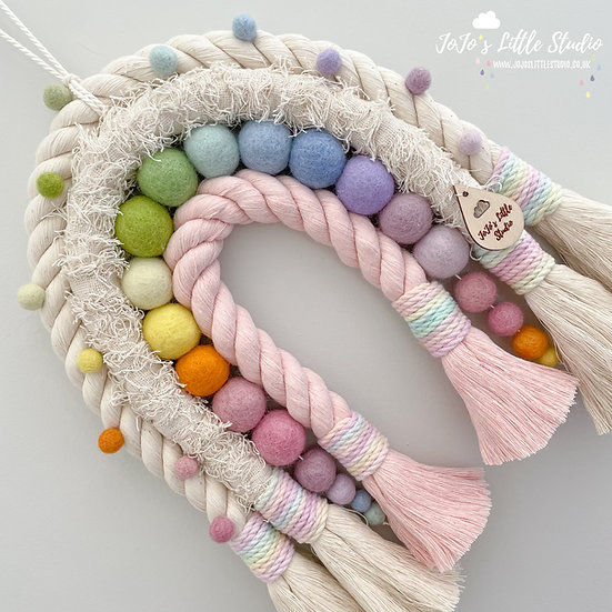 Super Chunky Rope Rainbow Wall Hanging - Pale Pink Ivory Pastel Rainbow